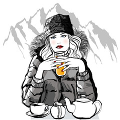Mountain - Young woman having breakfast before skiing