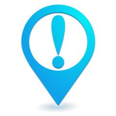 attention danger sur symbole localisation bleu