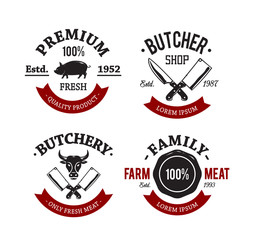 Vector set of vintage butchery meat shop emblems.
