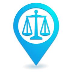 justice sur symbole localisation bleu