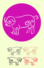 Pig, art vector decoration