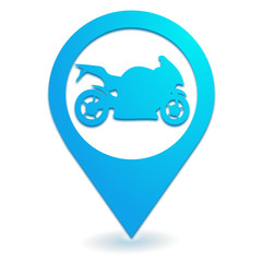 moto sur symbole localisation bleu