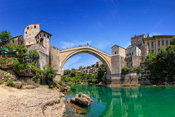The Old Bridge in Mostar with river Neretva, Bosnia Herzegovina.