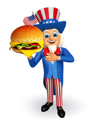 Uncle Sam with burger
