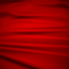 Beautiful Red Silk. Drapery Textile Background, Vector