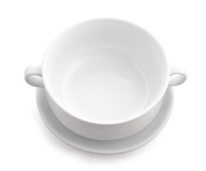 White dish for soup isolated.