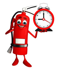 Fire Extinguisher character with table clock