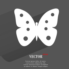 butterfly. Flat modern web button with long shadow and space for