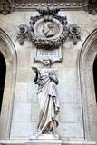 Paris. Sculptures and high reliefs on the facade of Opera Garnie