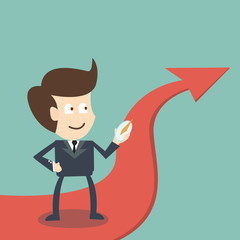 Businessman with compass on arrow direction success - business c