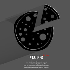 Pizza. Flat modern web button with long shadow and space for