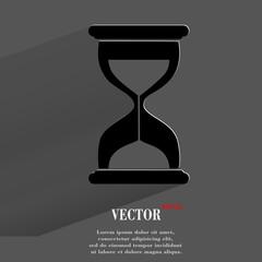 Sand clock. Glass timer . Flat modern web button with long