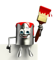 Paint Bucket Character with sign