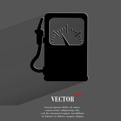 Gas, fuel station. Flat modern web button with long shadow and
