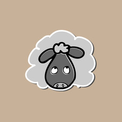 Sheep sticker drawing cartoon