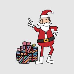 Santa and gift boxes