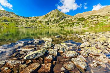 Beautiful glacier lake and colorful stones,Retezat,Romania