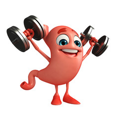 Cartoon Character of stomach dumbells