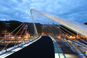 Pedestrian bridge over Nervion river in Bilbao. Spain