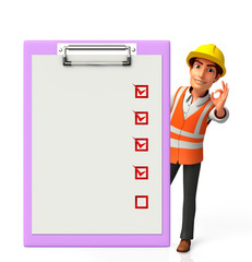 Young worker with notepad