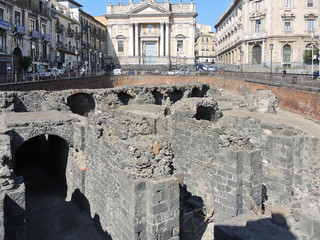 ruins on ancient roman amphitheater in Catania