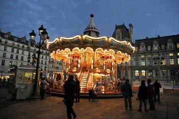 Christmas night illumination of carousel, Paris