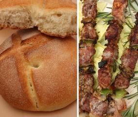 Kebab brochette d'agneau-Pain rond à la semoule