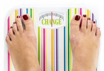 "Feet on bathroom scale with word ""Change"" on dial"
