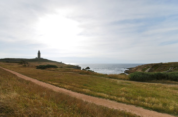 view of lighthouse Tower of Hercules, Galicia