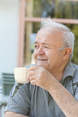 man enjoying coffee