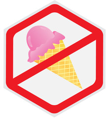No, ice, cream, sign, hexagon