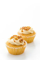 Nuts cupcake isolated on white background