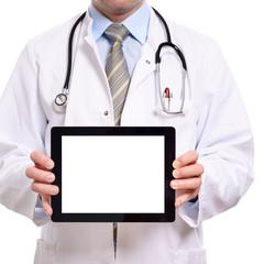 Nahaufnahme eines leeren Displays gehalten von einem Arzt