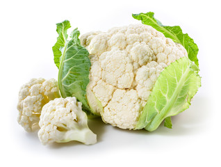 Fresh cauliflower with pieces isolated on white