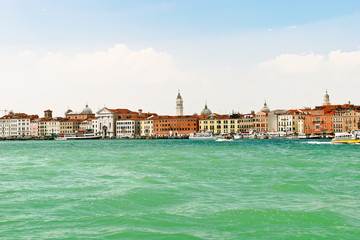 skyline on Venice city from lagoon,