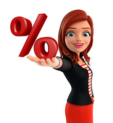 Young Corporate lady with percent sign