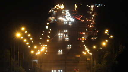 heavy traffic on the freeway at night
