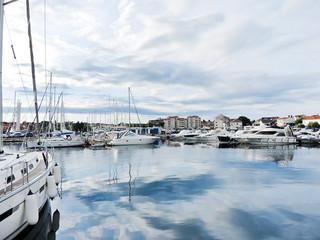 yacht mooring in Biograd na Moru town, Croatia