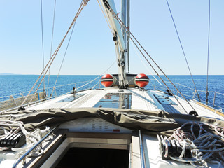 on yacht deck in calm sea