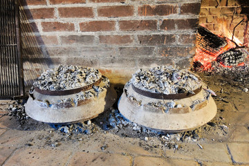 cooking of traditional dalmatian meal Peka