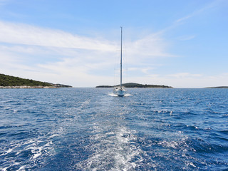 view of white yacht in blue Adriatic sea