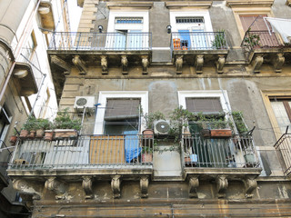 facade of house in center of Catania, Italy