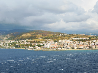 view of town Reggio di Calabria from sea
