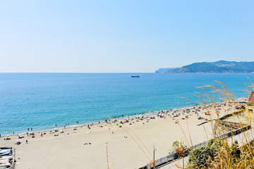 sand beach on Ligurian sea