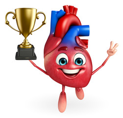 Heart character with trophy