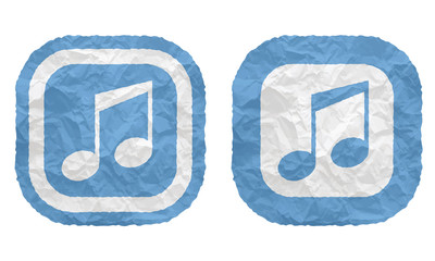 two frames with texture crumpled paper and music symbol