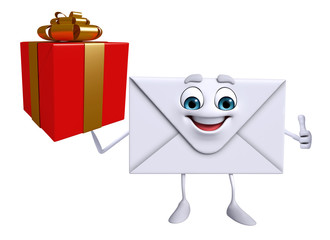 Mail Character with gift box