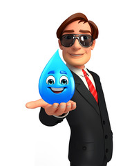 Young Business Man with water drope