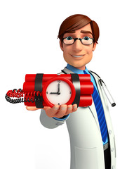 Young Doctor with time bomb