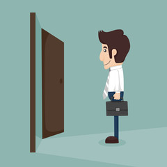 Businessman walking to opened door